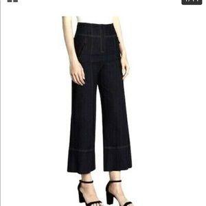 Cinq a Sept Black Wide Leg Hi Waist Cropped Jeans